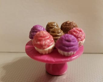 Dollhouse miniature cupcake stand with cupcakes