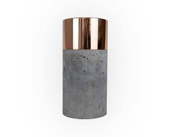 Dark Concrete Vase with Polished Copper and Removable Glas
