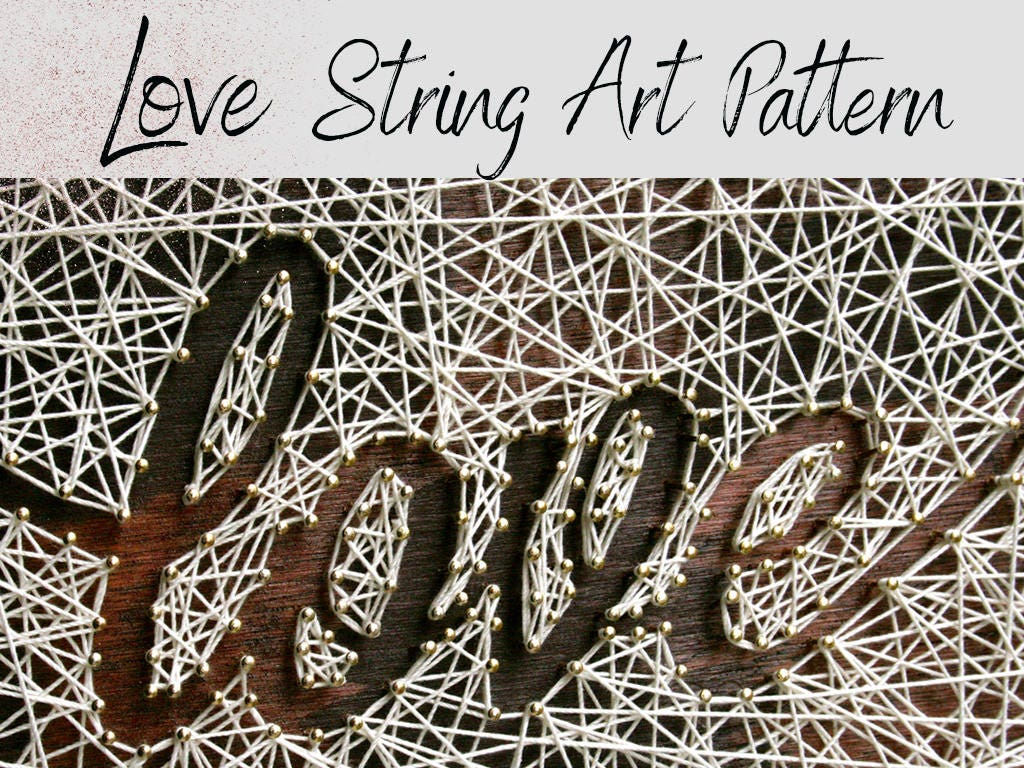 large love string art pattern and instructions string art template anniversary gift 5th. Black Bedroom Furniture Sets. Home Design Ideas