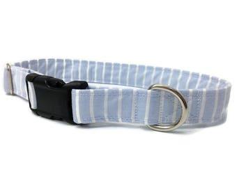 Preppy Boy dog collar, blue and white stripe dog collar, boy dog collar, Preppy dog collar, unc dog collar, large dog collar