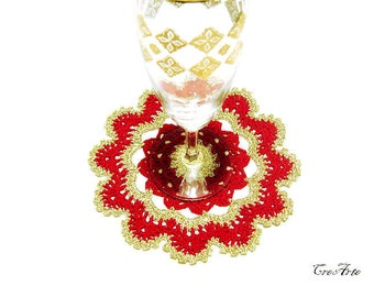 Red and Gold Crochet Christmas Doily, Crochet Coasters, Table decoration, Round Doily, Centrino piccolo Natale