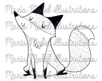 Sello digital de ensueño FOX + página para colorear