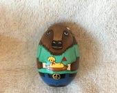 Buffalo beastie egg holding butter lamb aqua green T-shirt with buffalo heart