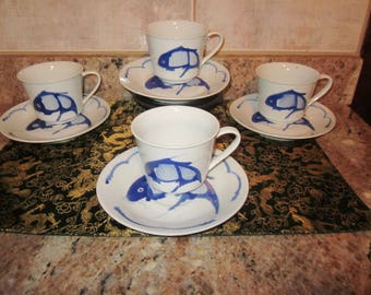 Chinese Blue Cobalt Koi Fish Teacups and Saucers set of 4 Rare  Collectibles with Markings