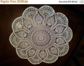 Close Out Handmade Crochet Doily - Ecru - Pineapple Design - 100% Cotton