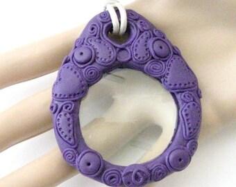 SALE Purple Magnifying glass Pendant Necklace - Decorative Magnifying glass necklace - Tone on Tone purple magnifier - Monocle Necklace