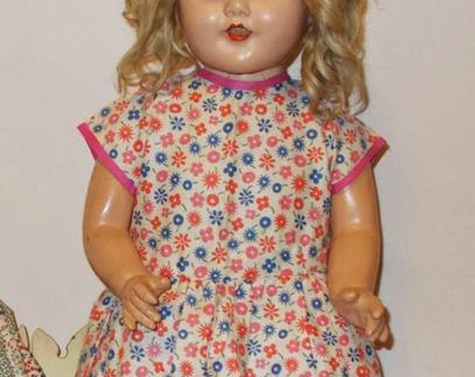 "Antique Vintage 30s 40s Pink Blue White Calico Floral Print Handmade Cotton Doll Dress Fits a 25"" Doll"