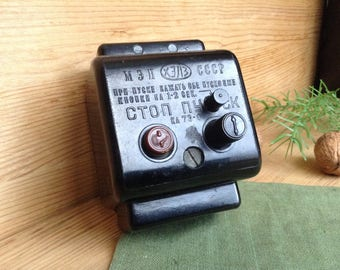 Industrial Lighting Light Switch, Vintage Toggle Light Switch Black Bakelite, On/ Off Switch, Start-Stop Push Button, Electrical Equipment