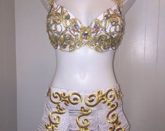 CUSTOM SIZE Greek Goddess with skirt | edc bra rave outfit costume cosplay ultra UMF beyond wonderland burlesque