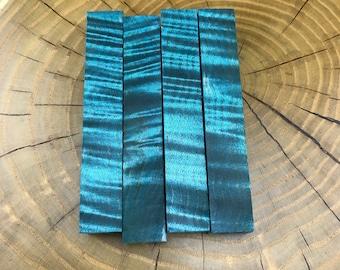 Ocean Blue Stabilized Super Curly Maple Pen Blanks