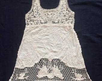 Vintage Antiqued Lace Minidress