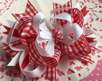 Lovely French Country Checker RED Bow Organza Ribbon   Birthday Bow or Valentine Hair Bow NEW