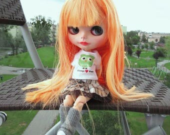 SALE!!! Custom Neo factory Blythe doll with Pure Neemo Body, ooak, cce - orange long hair