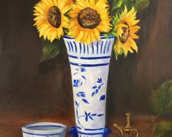 The Total Eclipse/ blue and white/ sunflowers/ floral art/ oil painting/