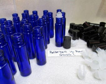 Set-Fifty(50) Cobalt Glass Roll-on 10ml bottle with REAL Glass Roller Ball Essential Oil UV-Protected Perfume Container