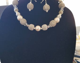 Chunky, bling, pave, pearl, chunky necklaces, pearl necklaces, large, rhinestone necklaces, silver, white, bridal necklaces, crystal