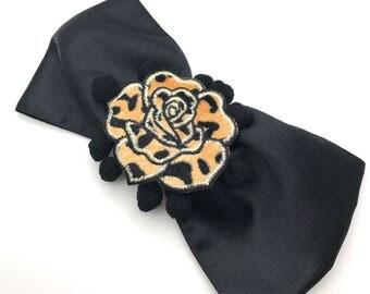 Handmade Black Satin Bow, Pom Pom & Rose Embellished Hair Clip