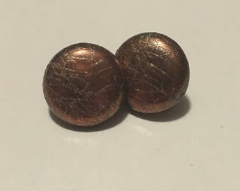 Copper Finish Post Back Earrings with Gold
