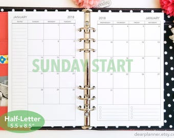 PRINTED Month on 2 page - SUNDAY start - Mo2p calendar - Dated thru December 2018 - Monthly planner insert - Half letter A5 insert - 22H