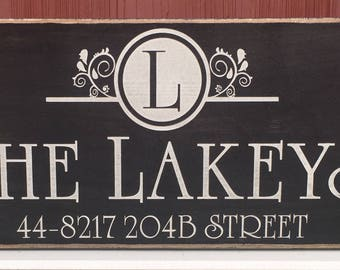 "Rustic Wood Sign - Family Name with Monogram Establishment Date and Address - 12"" x 24"""