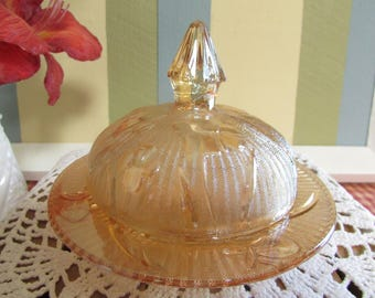 Jeannette Glass butter dish with lid, VINTAGE Butter Dish Iridescent, Iris