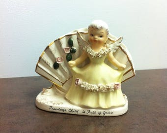 Vintage Planter - Tuesday Child is Full of Grace - Plant Holder - Angel Decorated - Window Sill Decor - Birthday Gift for the Tuesday Person