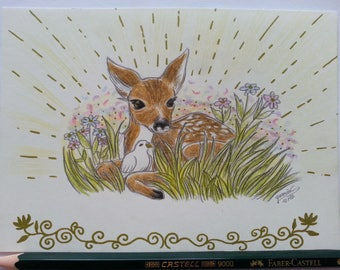 "Original colored pencil drawing ""Deer with a pigeon"" postcardsize"