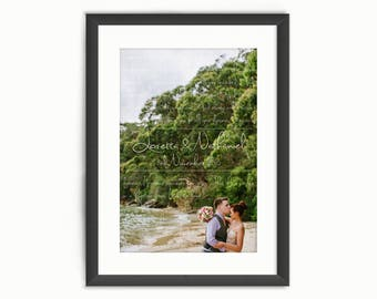 Wedding Vows Print or Song Lyrics Names & Date - Custom Personalised Wedding Photo Art - Anniversary/Valentine's Day Gift - Digital Download