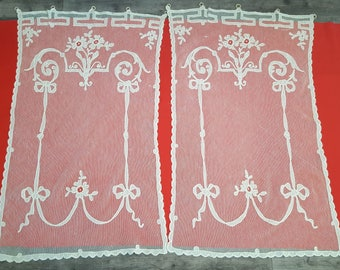 Pair of old lace embroidered tulle application Cornely ref 12559 curtains