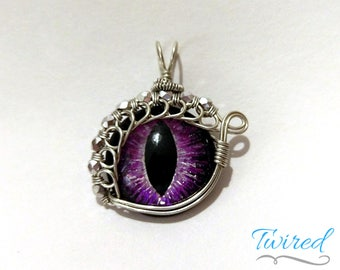Purple Hand-Painted Dragon Eye Pendant w/Silver Beaded Wire Wrap (with Necklace)