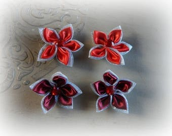4 flower appliques to glue or sew Red 5.5 cm