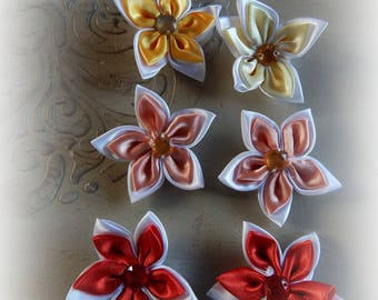 6 flowers appliques, craft or sewing mixed color 5.5 cm