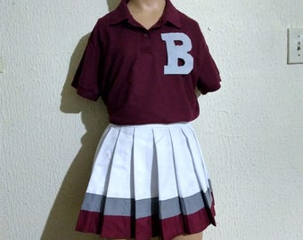 Bayside Maroon Polo Shirt & Skirt Cheerleader Uniform Football Game Dance Halloween Costume