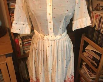 Mid-1950's Rockabilly Perfect L'Aiglon Embroidered Dot Shirtwaist Dress