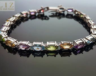 925 Sterling Silver Genuine Peridot Amethyst Blue Topaz Citrine Tennise Marquise Bracelet 8 inches
