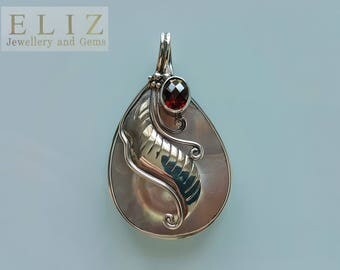 Natural Mobe Pearl with Genuine GARNET Sterling Silver Pendant Custom Made Gift