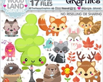 80%OFF - Woodland Clipart, Woodland Graphic, COMMERCIAL USE, Forest Animal Clipart, Fox Clipart, Fox Graphic, Woodland Creatures