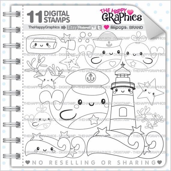 Whale Stamp Commercial Use Digi Digital Image Summer