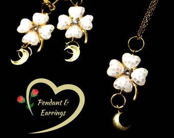 Gold Pearl Clover Dangle Earrings and Pendant Set, Clover and Crescent Earrings, On Trend Stylish Drop Earring and Pendant Set, Special Gift