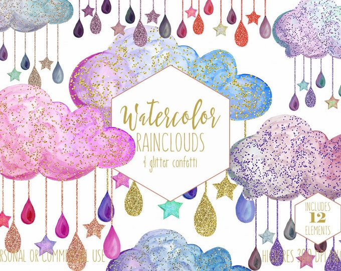 RAINBOW RAIN CLOUDS Clipart Commercial Use Clip Art Watercolor Clouds with Purple Pink Gold Glitter Confetti Raindrops Stars Baby Graphics