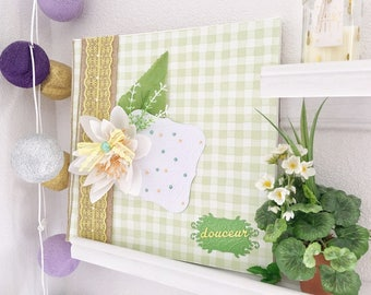 Frame deco soft green yellow pastel flowers