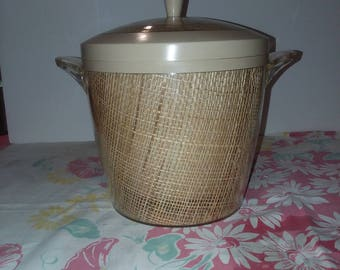 Mid Century Raffiaware Beige Ice Bucket with Lid