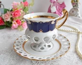 Vintage tea cup and saucer set Czech porcelain set Byzant tea cups rose porcelain vintage tea set teacup saucer