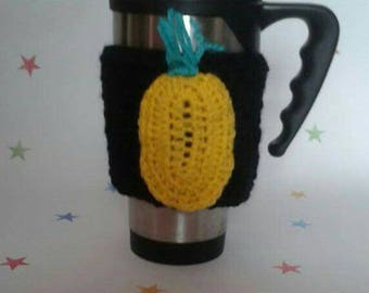 Pineapple Cup Cosy, Coffee Sleeve, Tropical Lover Gift, travel cozy, mens tea cosy, pineapple applique, coffee lover, mug sleeve, cup warmer