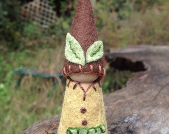 Little Forest Gnome ! Handmade natural Waldorf peg doll