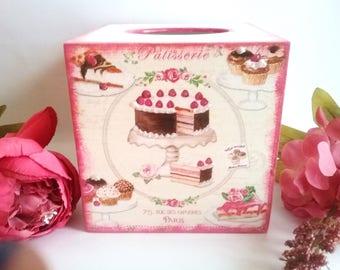 Tissue box cover, tissue box, tissue holder, kitchen decor, napkin holder, wooden tissue box cover, decoupage tissue box, birthday cake