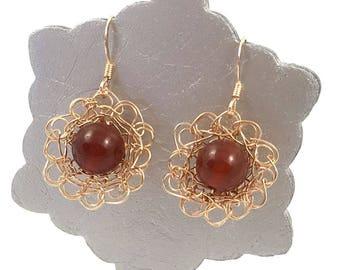 Rose Gold Carnelian Flower Earrings