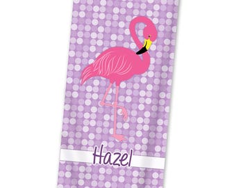 Flamingo Beach Towel - Flamingo Pool Towel, Purple Polka Dot Towel, Hot Pink Flamingo Kids Personalized Beach Towel - Kids Personalized Gift