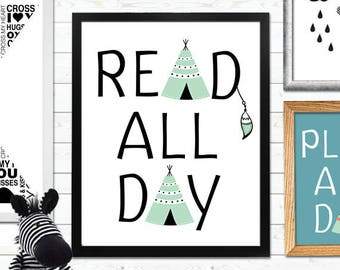 Read All Day Print, Reading Print, book Print, Reading Nook Print, Reading Art, kids reading print, Book Lover, Bookworm Print