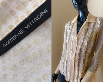 Adrienne Vittadini Beige Silk Blouse, Vintage Sheer Silk Blouse with Ruffles/ Ribbons, Silk Check Blouse, Size 8
